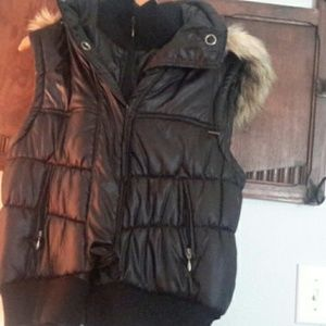 INC Sleeveless Puff Vest w/ Faux Fur Hoodie